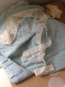My beautiful 1930s fabric and lace trims.
